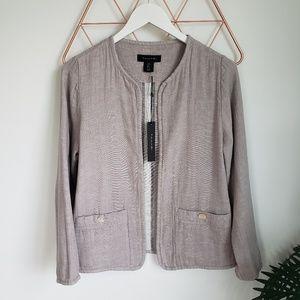 🆕️ Tahari, Tan Linen Open Front Jacket Blazer, S